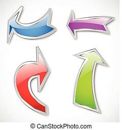 flechas, vario, colores, vector