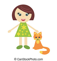nice little girl with cat
