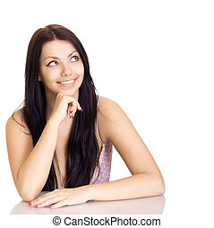 beautiful smiling girl look on copyspace isolated