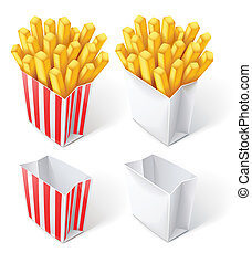 fried chips in paper bag vector illustration isolated on...