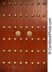 antiguo, chino, puerta