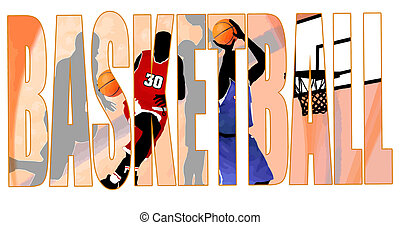 Basketball title with a players scene in the background,...