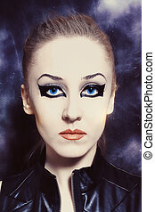 beautiful young woman with bright makeup - Portrait of...
