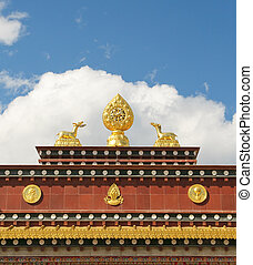 architectural details of songzanlin tibetan monastery,...