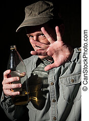 Alcohol Addict - Caucasian man unable to get out of the...