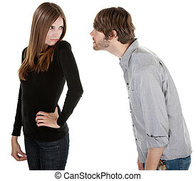 Stare Down - Young man Caucasian trying to win back his...
