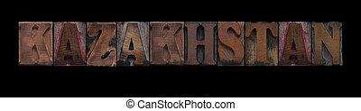 Kazakhstan in old wood type