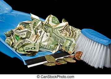 Sweeping Money - Money being swept in dust pan