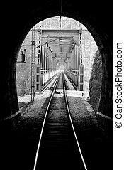 Railroad tunnel and bridge - Picture from railroad tunnel on...