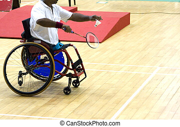 Wheel Chair Badminton for Disabled - A wheel chair bound...