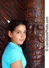 latín, mexicano, Adolescente, niña, sonrisa,...