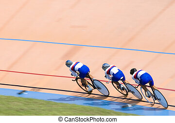 Bicycle Race - Team pursuit cycling championship at a...