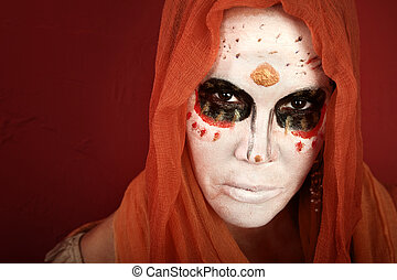 Mysterious Woman - Woman wearing a scary makeup for All...