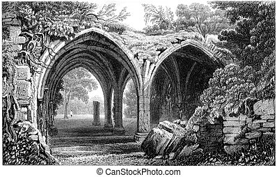 Runed Cloisters of Margam Abbey - 1840s engraving of...