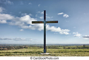 christian cross of christ in field - image of a christian...