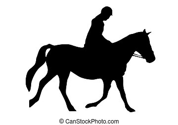 Horse Riding - Isolated silhouette of rider on horse back