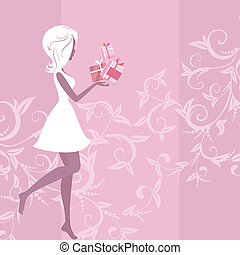 girl silhouette pattern and gifts