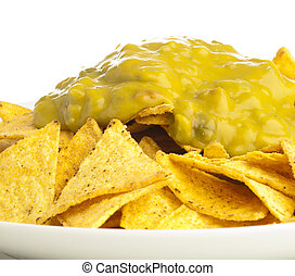 nachos - extreme closeup of nachos plate on white background