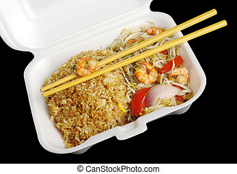 Chinese takeout food: Fried rice with king prawns and...