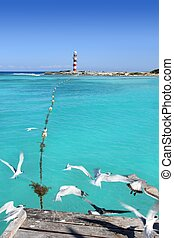 Cancun lighthouse view from seagull pier - Cancun lighthouse...