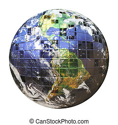3D Wire Frame Earth Sphere