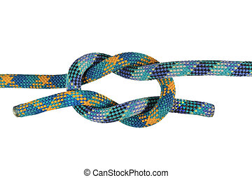 granny knot - granny or false knot joining blue and green...
