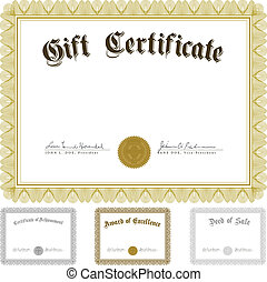Vector Certificate and Awards Frame Set - Set of ornate...