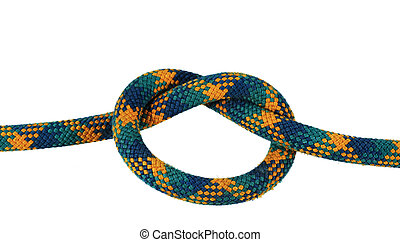 isolated overhand knot - overhand or thumb knot in green and...