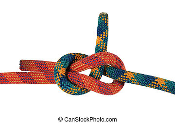 isolated sheet bend knot - sheet bend or weavers knot...
