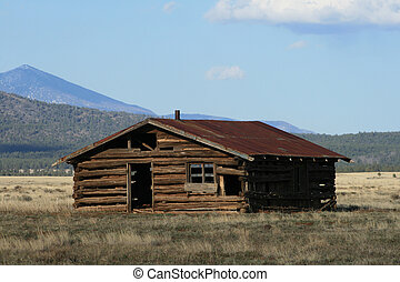 old log cabin - rundown old log cabin in field in northern...
