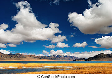 Mongolian landscape - Landscape with mountain lake and blue...
