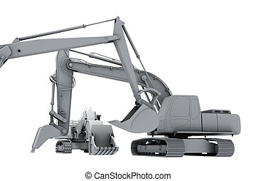 Grey model of the diggers - Models of the diggers isolated...
