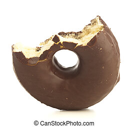 chocolate donut - bite chocolate donuts on a white...