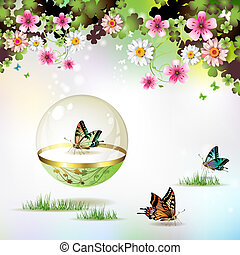 Butterfly isolated in glass globe