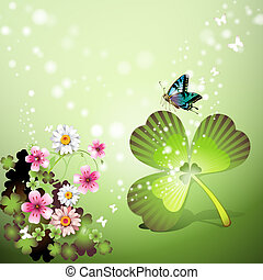 St Patricks Day background with flowers and butterflies