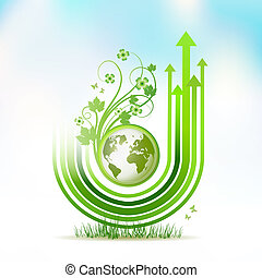 Green Earth with green arrow stripes over sky background