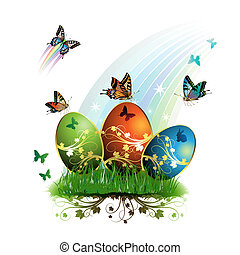 Easter card with butterflies and decorated eggs on grass ,...