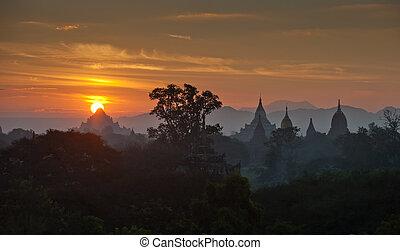 Sunrise over ancient Bagan, Myanmar