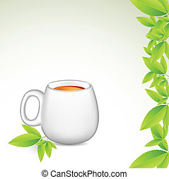 Tea Cup - illustration of tea cup with green leaves on...
