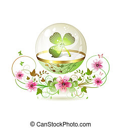 Clover in glass globe with flowers and butterflies for St....