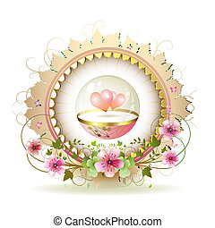 Circular floral frame with hearts in glass globe and gold...