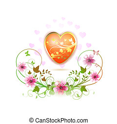 Heart decorated with flowers and butterflies for Valentine's...