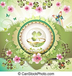 St Patricks Day card, clover in glass globe with flowers and...