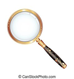 Magnifying glass isolated over whit