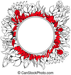 Round frame with floral element
