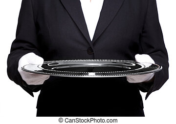 Female butler holding a silver tray isolated on white. -...