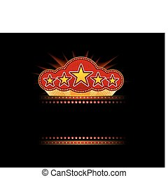 Blank movie, theater or casino marquee with stars isolated...