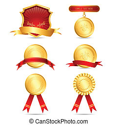 Different Medals - illustration of medals on isolated white...