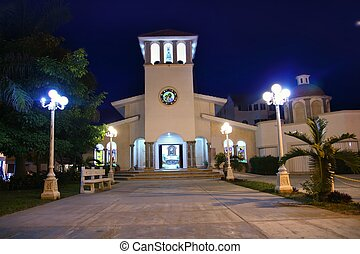 Puerto Morelos night church Mayan Riviera - Puerto Morelos...