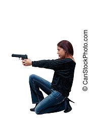 mujer, policía, arma de fuego
